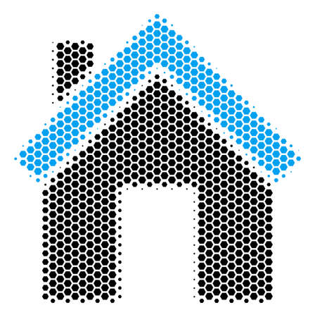 Halftone hexagonal Home icon. Pictogram on a white background. Vector composition of home icon created of hexagonal spots.