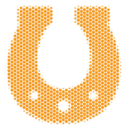 Halftone hexagon Horseshoe icon. Pictogram on a white background. Vector pattern of horseshoe icon made of hexagonal blots.