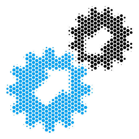 Halftone hexagon Integration icon. Pictogram on a white background. Vector mosaic of integration icon designed of hexagonal spots. Illustration