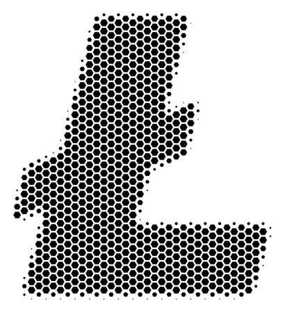 Halftone hexagonal Litecoin icon. Pictogram on a white background. Vector collage of litecoin icon created of hexagonal dots.