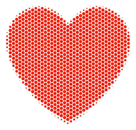 Halftone hexagon Love Heart icon. Pictogram on a white background. Vector pattern of love heart icon constructed of hexagon blots. Illustration