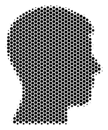 Halftone hexagonal Man Head Profile icon. Pictogram on a white background. Vector mosaic of man head profile icon organized of hexagonal spots. Illustration