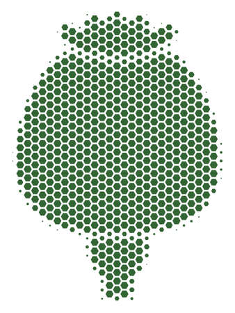 Halftone hexagon Opium Poppy icon. Pictogram on a white background. Vector concept of opium poppy icon composed of hexagonal elements. Illustration