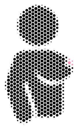 Halftone hexagonal Naked Woman icon. Pictogram on a white background. Vector composition of naked woman icon created of hexagon spots.