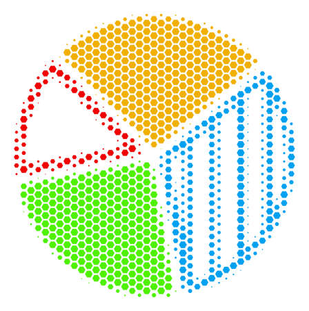 Halftone hexagon Pie Chart icon. Pictogram on a white background. Vector concept of pie chart icon composed of hexagonal elements.