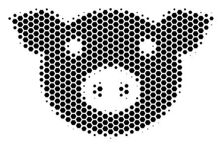 Halftone hexagon Pig Head icon. Pictogram on a white background. Vector concept of pig head icon created of hexagonal spots.