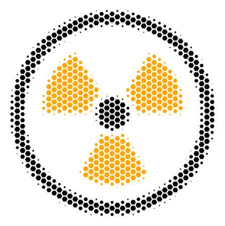 Halftone hexagonal Radioactive icon. Pictogram on a white background. Vector concept of radioactive icon organized of hexagonal dots.