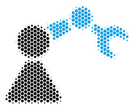 Halftone hexagon Robotics Manipulator icon. Pictogram on a white background. Vector composition of robotics manipulator icon done of hexagon pixels. Illustration