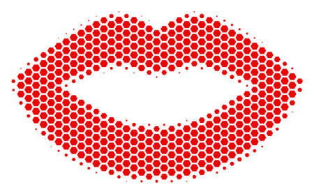 Halftone hexagonal Sexy Lips icon. Pictogram on a white background. Vector collage of sexy lips icon created of hexagon blots.