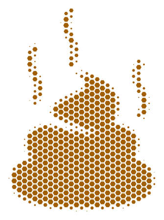 Halftone hexagon Shit Smell icon. Pictogram on a white background. Vector concept of shit smell icon organized of hexagon spots.