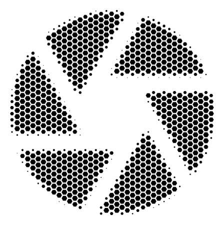 Halftone hexagon Shutter icon. Pictogram on a white background. Vector concept of shutter icon composed of hexagonal dots.