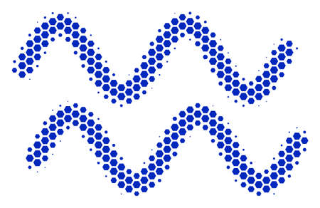 Halftone hexagon Sinusoid Waves icon. Pictogram on a white background. Vector mosaic of sinusoid waves icon combined of hexagonal blots. Illustration