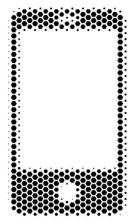 Halftone hexagon Smartphone icon. Pictogram on a white background. Vector mosaic of smartphone icon designed of hexagonal spots.