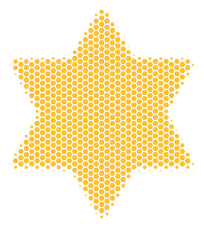 Halftone hexagon Six Pointed Star icon. Pictogram on a white background. Vector composition of six pointed star icon combined of hexagonal dots. Ilustração