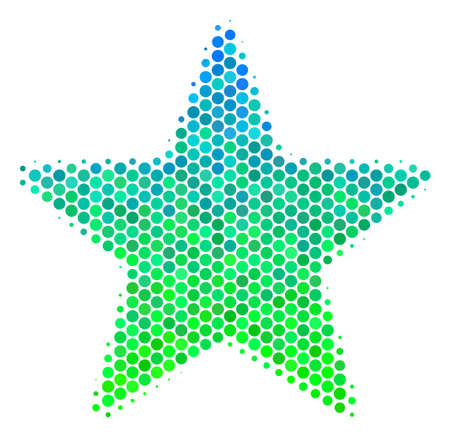 Halftone circle Fireworks Star icon. Pictogram in green and blue color tones on a white background. Vector concept of fireworks star icon designed of round pixels.