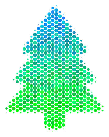 Halftone dot Fir-Tree pictogram. Icon in green and blue color tints on a white background. Vector collage of fir-tree icon combined of spheric blots.
