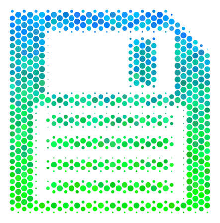 Halftone circle Floppy Disk icon. Icon in green and blue color tinges on a white background. Vector collage of floppy disk icon designed of sphere elements.