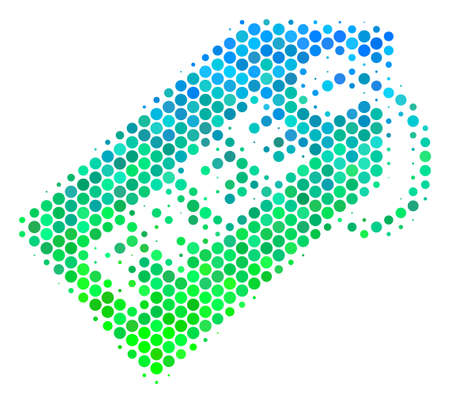 Halftone round spot Free Tag icon. Pictogram in green and blue color tints on a white background. Vector pattern of free tag icon created of circle elements.