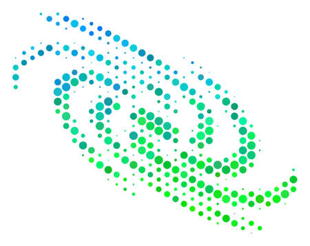 Halftone round spot Galaxy pictogram. Icon in green and blue shades on a white background. Vector composition of galaxy icon created of circle blots.