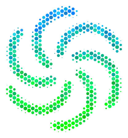 Halftone circle Galaxy icon. Pictogram in green and blue color tints on a white background. Vector pattern of galaxy icon organized of round blots.
