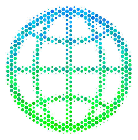 Halftone circle Globe pictogram. Pictogram in green and blue color tints on a white background. Vector composition of globe icon made of round elements. Illustration