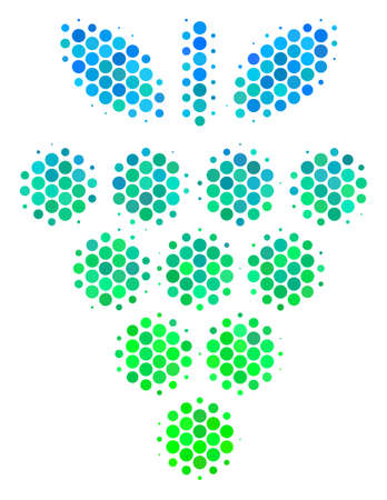 Halftone circle Grapes pictogram. Icon in green and blue color tinges on a white background. Vector pattern of grapes icon constructed of sphere elements.