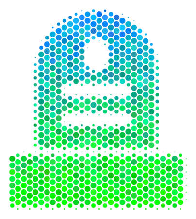 Halftone circle Grave pictogram. Pictogram in green and blue color tinges on a white background. Vector composition of grave icon organized of spheric pixels.