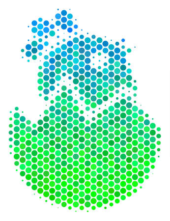 Halftone round spot Hatch Chick icon. Icon in green and blue color tints on a white background. Vector concept of hatch chick icon combined of round dots.  イラスト・ベクター素材