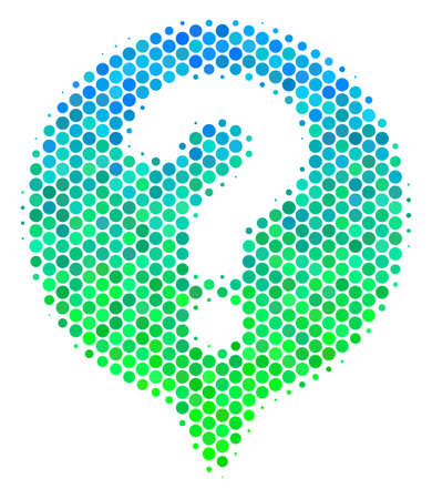 Halftone circle Help Balloon icon. Icon in green and blue color tones on a white background. Vector collage of help balloon icon designed of sphere spots.