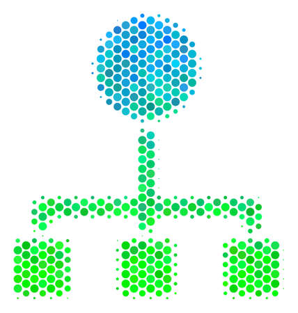 Halftone circle Hierarchy pictogram. Pictogram in green and blue color hues on a white background. Vector composition of hierarchy icon combined of circle dots. Illustration