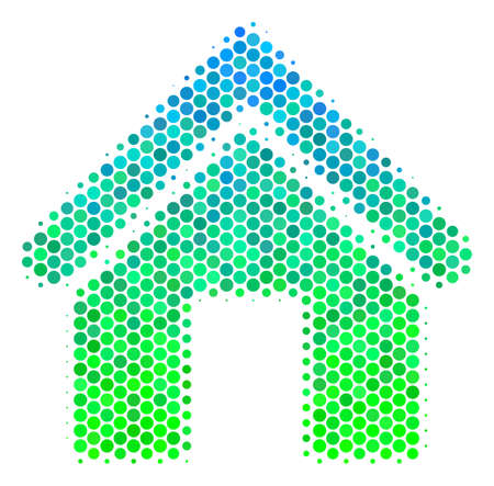 Halftone circle Home pictogram. Icon in green and blue color hues on a white background. Vector concept of home icon designed of circle spots.