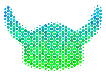 Halftone dot Horned Helmet pictogram. Icon in green and blue color tones on a white background. Vector concept of horned helmet icon designed of circle elements.