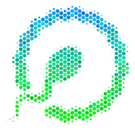 Halftone circle Insemination pictogram. Icon in green and blue shades on a white background. Vector collage of insemination icon constructed of spheric dots. Illustration