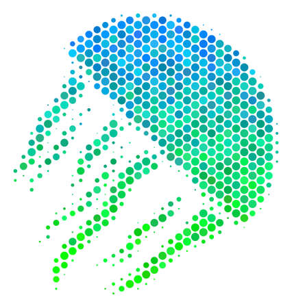 Halftone dot Jellyfish pictogram. Pictogram in green and blue color tints on a white background. Vector collage of jellyfish icon done of circle spots.
