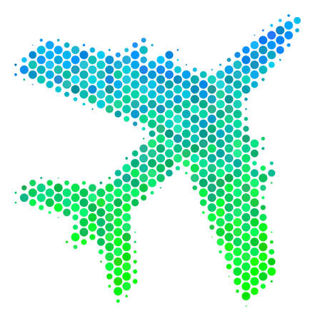 Halftone dot Jet Plane icon. Pictogram in green and blue color tones on a white background. Vector collage of jet plane icon combined of round dots. Illustration