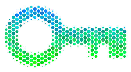 Halftone round spot Key icon. Pictogram in green and blue color tints on a white background. Vector collage of key icon composed of spheric items.