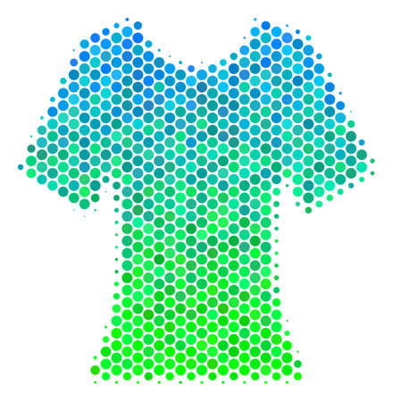 Halftone circle Lady T-Shirt icon. Icon in green and blue color tints on a white background. Vector collage of lady t-shirt icon combined of round pixels. Illustration