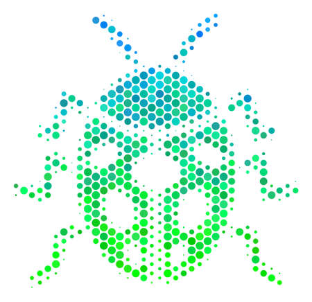 Halftone circle Ladybird Bug pictogram. Pictogram in green and blue color hues on a white background. Vector concept of ladybird bug icon made of round pixels.
