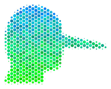 Halftone circle Lier icon. Icon in green and blue color hues on a white background. Vector pattern of lier icon combined of spheric dots.