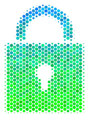 Halftone round spot Lock icon. Pictogram in green and blue color hues on a white background. Vector collage of lock icon done of circle pixels.