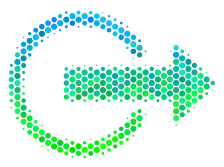 Halftone circle Logout pictogram. Icon in green and blue color hues on a white background. Vector composition of logout icon combined of circle blots. Illustration