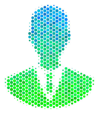 Halftone circle Manager icon. Pictogram in green and blue color tinges on a white background. Vector collage of manager icon made of sphere items.