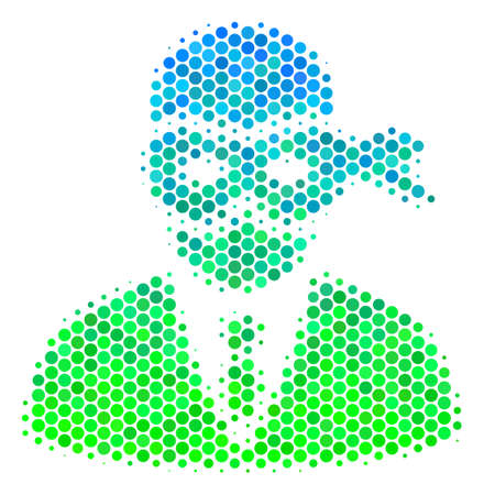 Halftone circle Masked Thief icon. Pictogram in green and blue color tints on a white background. Vector pattern of masked thief icon created of circle items. Illustration