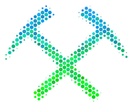 Halftone circle Mining Hammers icon. Icon in green and blue color tones on a white background. Vector mosaic of mining hammers icon composed of sphere dots.