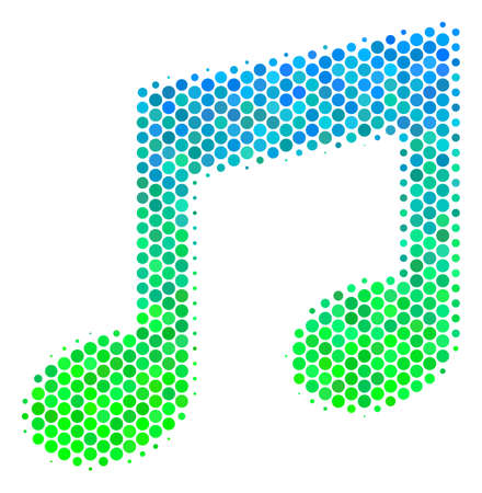 Halftone circle Music Notes pictogram. Icon in green and blue color tones on a white background. Vector mosaic of music notes icon made of circle items. Illustration