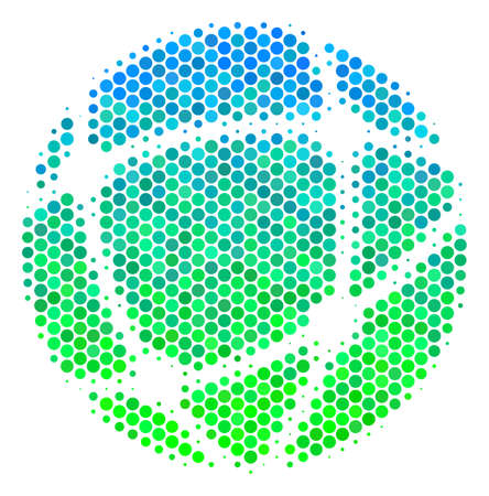 Halftone dot Network pictogram. Icon in green and blue color tints on a white background. Vector mosaic of network icon done of circle blots. Illustration