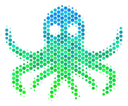 Halftone dot Octopus pictogram. Pictogram in green and blue color hues on a white background. Vector mosaic of octopus icon composed of round pixels. Illustration