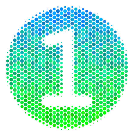 Halftone round spot One Coin icon. Pictogram in green and blue shades on a white background. Vector concept of one coin icon created of circle blots.