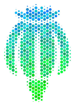 Halftone dot Opium Poppy pictogram. Icon in green and blue color tones on a white background. Vector concept of opium poppy icon done of circle blots.