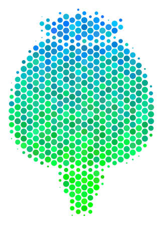 Halftone round spot Opium Poppy pictogram. Pictogram in green and blue color hues on a white background. Vector composition of opium poppy icon designed of sphere blots.